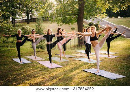 Group Of Young Women Are Doing Yoga Exercise Utthita Hasta Padangusthasana. Group Of Women Doing Yog