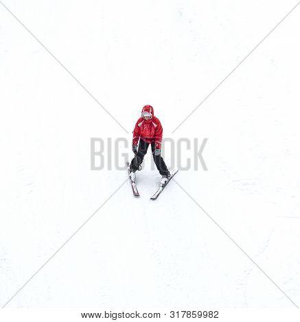 Slavske, Ukraine - December 24, 2019: Male Skier Skiing Downhill In High Mountains. Concept Of Winte