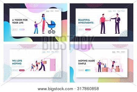 Relocation And Moving To New House Website Landing Page Set. Web Page Banner. Man Selling Or Renting