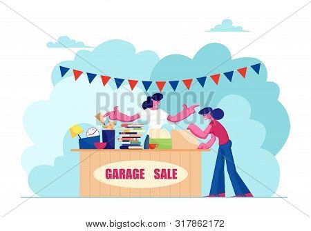 Outdoor Garage Sale With Housewares, Clothing, Books And Toys. Woman Offer Junk Goods, Odd Rummage O