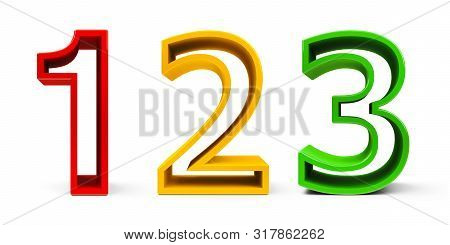Numbers 1, 2, 3 (one, Two, Three) Of Different Colors Isolated On White Background, Three-dimensiona
