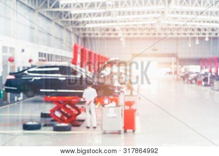 Auto Repair Service. Blurred Background. Car Repair Center Auto Repair Service Station Blurred Backg