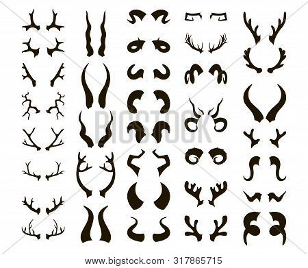 Horns Silhouette Big Set. Bull And Deer Antlers, Ram And Goat, Bison And Moose, Buffalo And Antelope