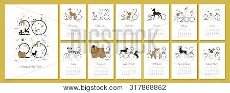 Monthly Creative Calendar 2020 With Dog Breeds For Dog Breeders And Dog Lovers. Concept, Vector Edit