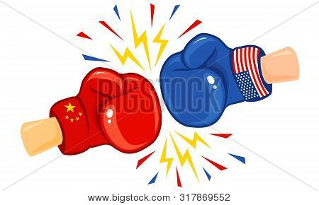 Vector Vintage Logo For A Boxing With Gloves With Two Flags. Vintage Emblem Of Two Boxing Gloves Wit