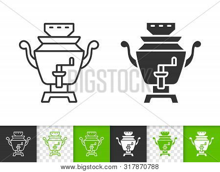 Samovar Black Linear And Silhouette Icons. Thin Line Sign Of Russian Tea. Teapot Outline Pictogram I