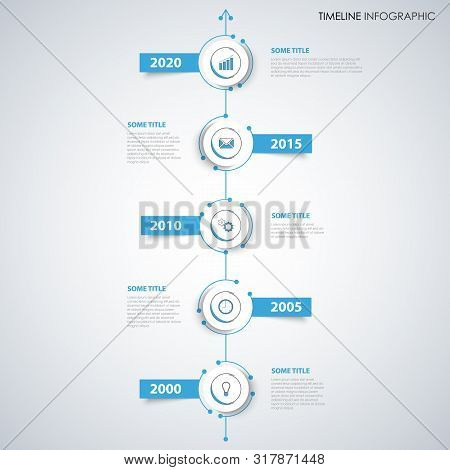 Time Line Info Graphic With Labels In Blue White Design Vector Eps 10