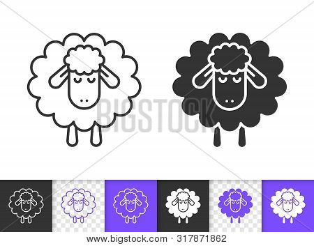 Sheep Black Linear And Silhouette Icons. Thin Line Sign Of Lamb. Sleep Outline Pictogram Isolated On