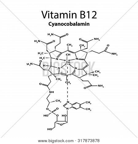 Vitamin B12. Cyanocobalamin Molecular Chemical Formula. Infographics. Illustration On Isolated Backg