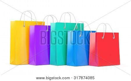 Group Of Five Color Paper Shopping Bags Isolated On White Background. Business, Retail, Sale And Onl