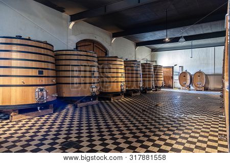 France Lyon 2019-06-21 Stack Of Wooden Barrels, Aging, Fermentation Process, Store In Modern Brocard
