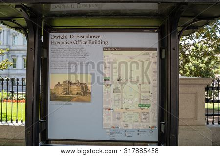 Washington, Dc - August 4, 2019: Sign For The Dwight D Eisenhower Executive Office Government Buildi
