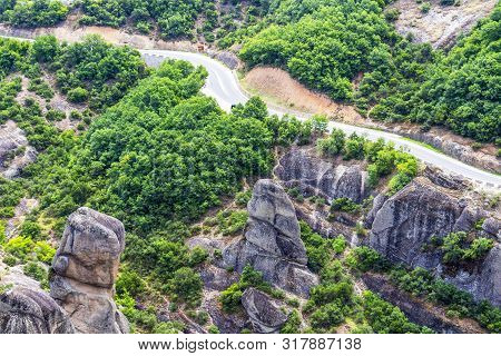 Highway Through Meteora Valley, Eastern Orthodox Monastery Complex Of Meteora, Central Greece