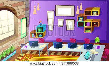 Empty School Or Company Staff Training Room Interior With Computers On Desk In Front Large Window, S