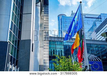 Brussels, Belgium - June 22, 2019: European Union Flags Near Eu Commission Parliament Building