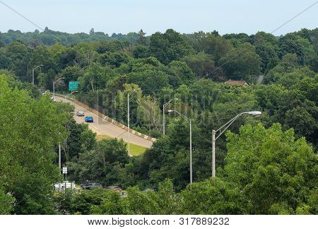 Looking Down At The Highway Below Outside Of Quincy, Massachusetts
