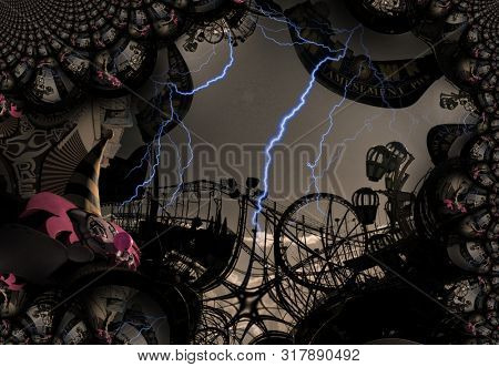 Grungy Carnival Abstract. Amusement park. 3D rendering