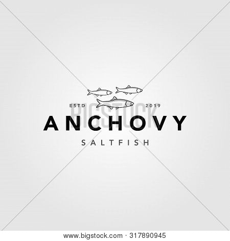 Vintage Minimalist Anchovy Fish Logo Label Emblem Packaging Designs