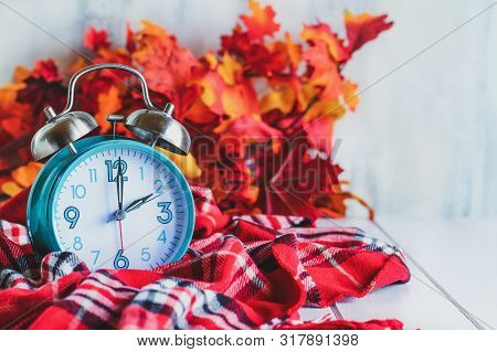 Daylight Savings Time Concept. Set Your Clocks Back With This Retro Beautiful Alarm Clocks Set To 2