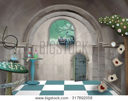 Surreal Room In Wonderland With A Cheshire Cat And A Table - 3d Illustration