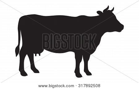 Cow graphic sign. Cow black silhouette isolated on white background. Vector illustration