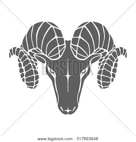 Aries graphic icon. Head ram gray sign isolated on white background. Vector illustration