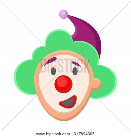 Cute Happy Cheerful Face Clown With Green Curly Hair, Red Nose, Purple Hat With A Shag, Smiles, Laug