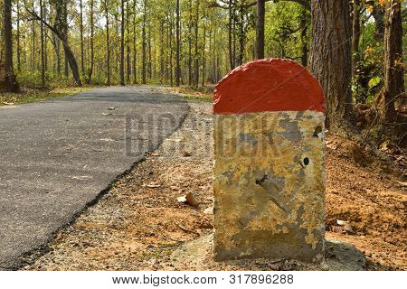 Mile Stone Near The Road.