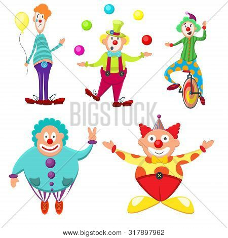 Cute, Funny, Multicolored Set Of Clowns With Different Emotions. Thick, Skinny, Funny, Funny, Joyful