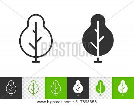 Geometric Tree Black Linear And Silhouette Icons. Thin Line Sign Of Abstract Sapling. Poplar Outline