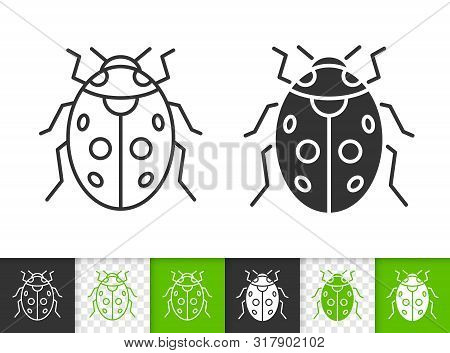 Ladybug Black Linear And Silhouette Icons. Thin Line Sign Of Ladybird. Bug Outline Pictogram Isolate