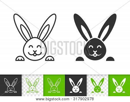 Easter Black Linear And Silhouette Icons. Thin Line Sign Of Bunny. Rabbit Outline Pictogram Isolated