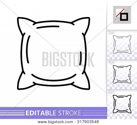 Pillow Thin Line Icon. Cushion Banner In Flat Style. Pillowcase Poster. Linear Pictogram. Simple Ill