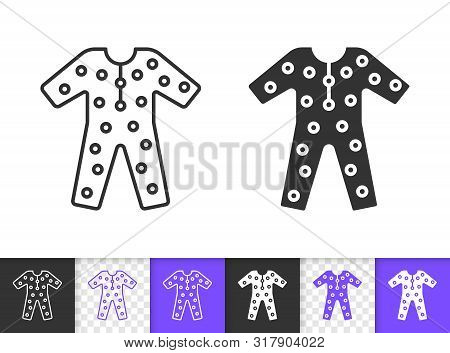 Pajama Black Linear And Silhouette Icons. Thin Line Sign Of Sleepwear. Wear Outline Pictogram Isolat
