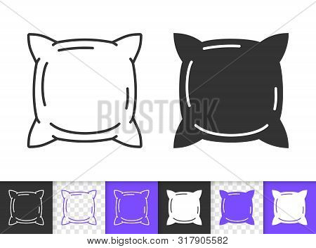 Pillow Black Linear And Silhouette Icons. Thin Line Sign Of Cushion. Pillowcase Outline Pictogram Is