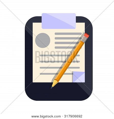 Clipboard Icon For Notes With Sheet Of Paper And Pencil Writing Messages. Flat Cartoons Style Vector