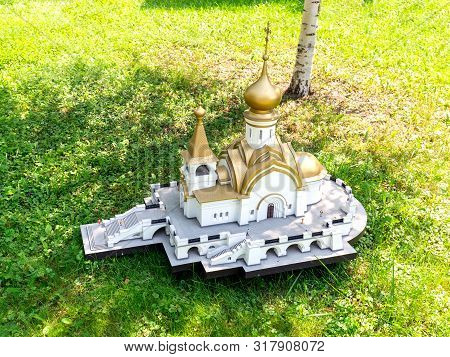 Moscow, Russia - 8 August, 2019: Model Of The Orthodox Church Of Seraphim Of Sarov In The City Of Kh