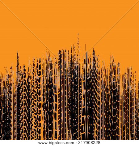 Orange Background With Black Tire Tracks Grunge Silhouettes