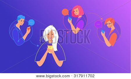 Social Media Chat And Data Sharing Concept Flat Vector Illustration. Teenage Girl Using Mobile Smart