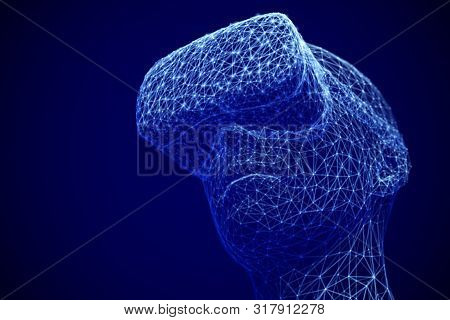 Virtual Reality Experience Concept: Man Wearing Virtual Reality Glasses. Abstract Visualization Of C