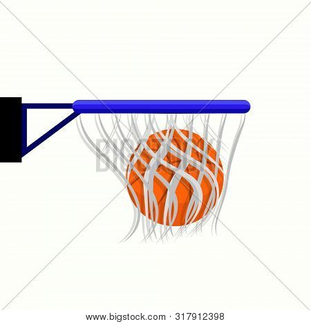 Basketball Basket With Net And Ball. Modern Flat Cartoon Style Vector Illustration Icons. Isolated O