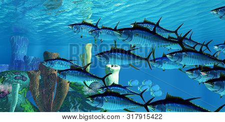 Yellowfin Tuna And Reef 3d Illustration - Black-backed Butterflyfish Swim In The Opposite Direction