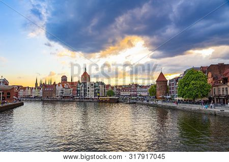 Gdansk Poland - May 30 2018: View Of Gdansk Old Town And Nowa Motlawa From Olowianka During Sunset W