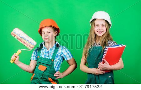 Future profession. Kids girls planning renovation. Initiative children provide renovation their room green background. Amateur renovation. Dreaming about new playroom. Home improvement activities poster