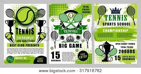 Tennis Big Game Tournament And Sport Club Championship, Rackets And Balls On Halftone Green Posters.