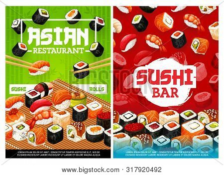 Sushi And Rolls, Japanese Food Restaurant And Bar Menu Covers. Vector Asian Cuisine Chopsticks And R