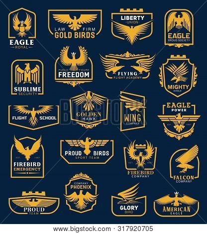 Heraldic Eagle Icons, Business Corporate Identity Signs. Vector Heraldic Golden Hawk And Eagle Wing