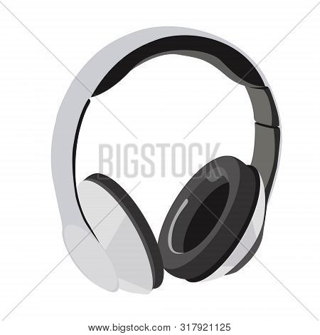 Modern Technology, Large Headphones For Listening To Music. Headphones Of White Color. Bulky Sound,