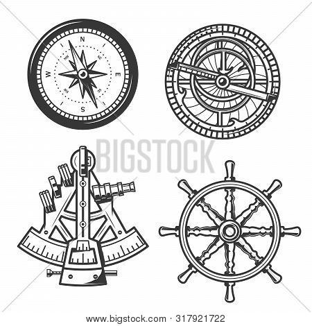 Ship Helm, Sail Compass And Sextant, Seafarer Marine Navigation Equipment. Vector Icons Of Compass N