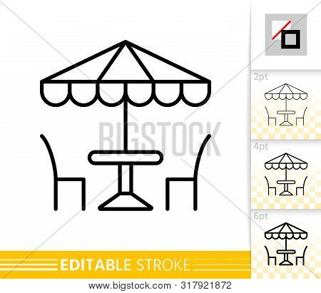 Street Cafe Thin Line Icon. Umbrella Banner In Flat Style. Summer Restaurant Table And Chair Poster.